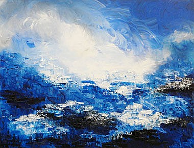 REVATI SHARMA SINGH, 'Brilliant blues', acrylic on