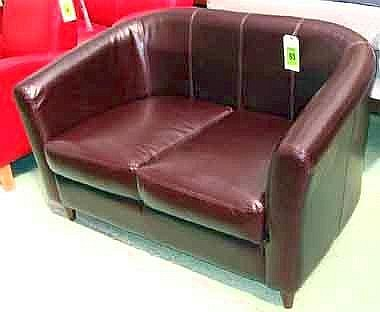Super Tub Sofa Two Seater In Brown Stitched Leather On Square T Dailytribune Chair Design For Home Dailytribuneorg