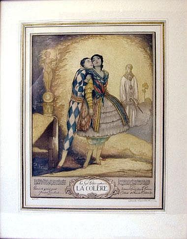 ANDRE LAMBERT (1884-1967), 'La Colere', etching in