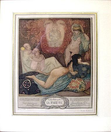 ANDRE LAMBERT (1884-1967), 'La Paresse', etching