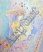 HUGH BARNDEN (b.1946), 'Red chair, red table', oil, Hugh Barnden, Click for value