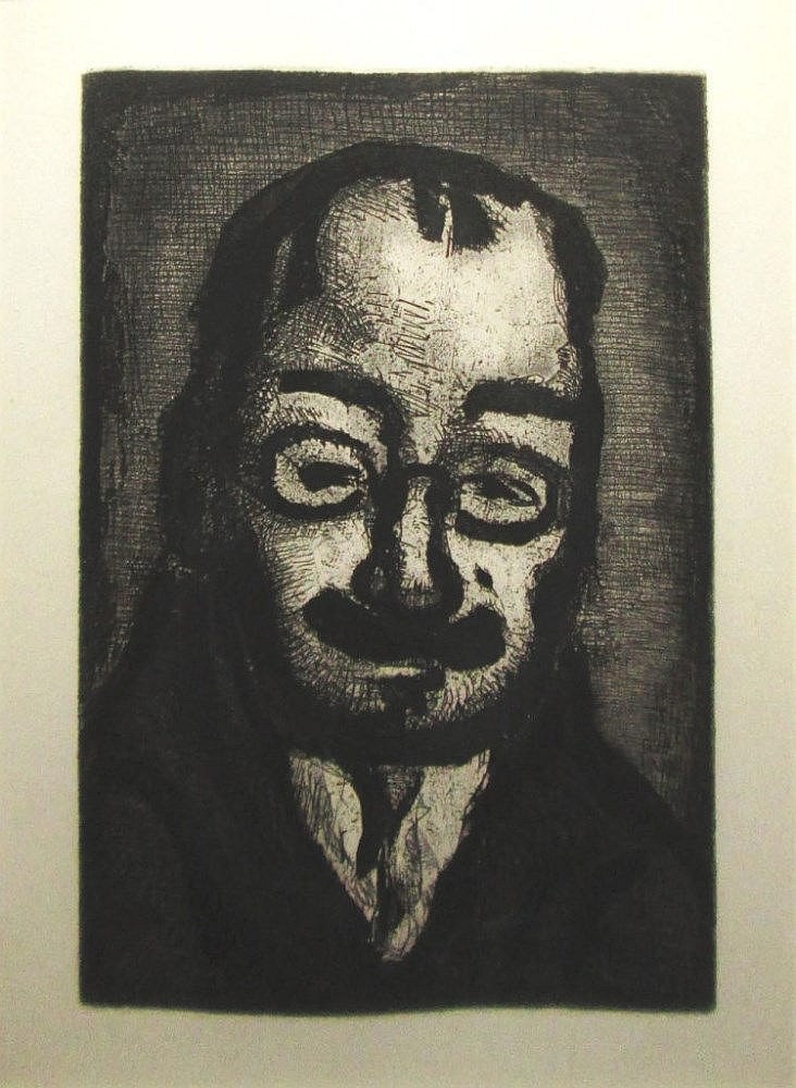 GEORGES ROUALT, 'Portrait of man', lithograph, 35cm x 24cm, framed.