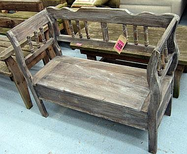 Sold Price Monks Bench In Wooden Antique Effect Finish With Invalid Date Bst