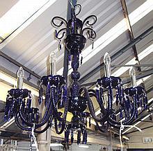 CHANDELIER, blue glass, ten branch, 91cm W x 98cm