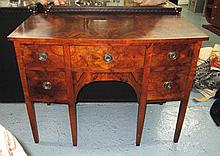 KNEEHOLE DESK, of small proportions, in burr
