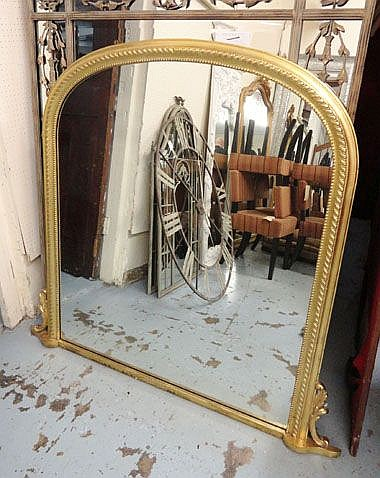 OVERMANTEL, French style, in ornate gilded frame,
