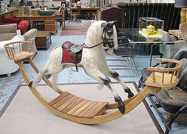 ROCKING HORSE, dapple grey with saddle, having a