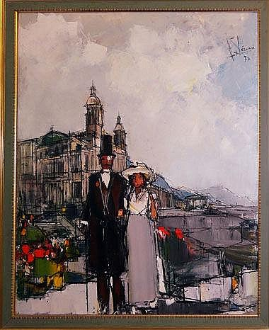 HUBERT CLERISSI (1923-2000), 'Lady and Gentleman',