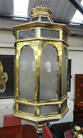 HALL LANTERN, of large proportions, brass,