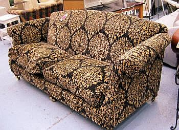SINCLAIR MELSON SOFA, in black and gold floral