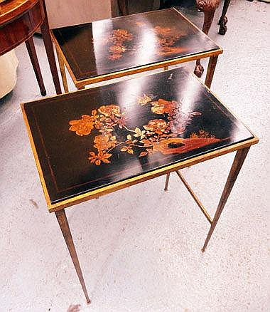 VAUGHAN SIDE TABLES, a pair, bronzed base, with