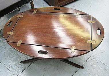 BUTLER'S TRAY, on low stand, 76cm x 49cm.
