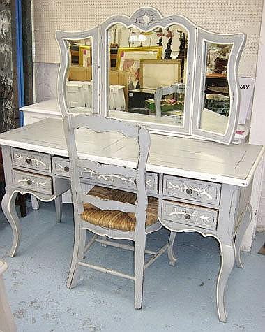DRESSING TABLE, Louis XV style grey and white