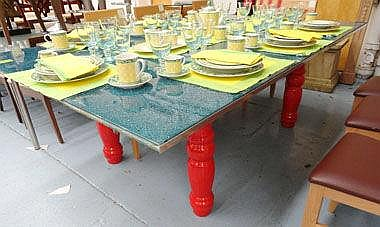 DINING TABLE, with a blue crackle shattered glass