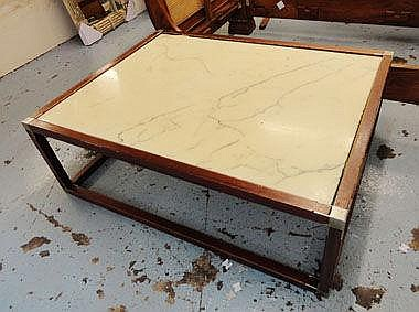 OCCASIONAL TABLE, with marble top on a wooden