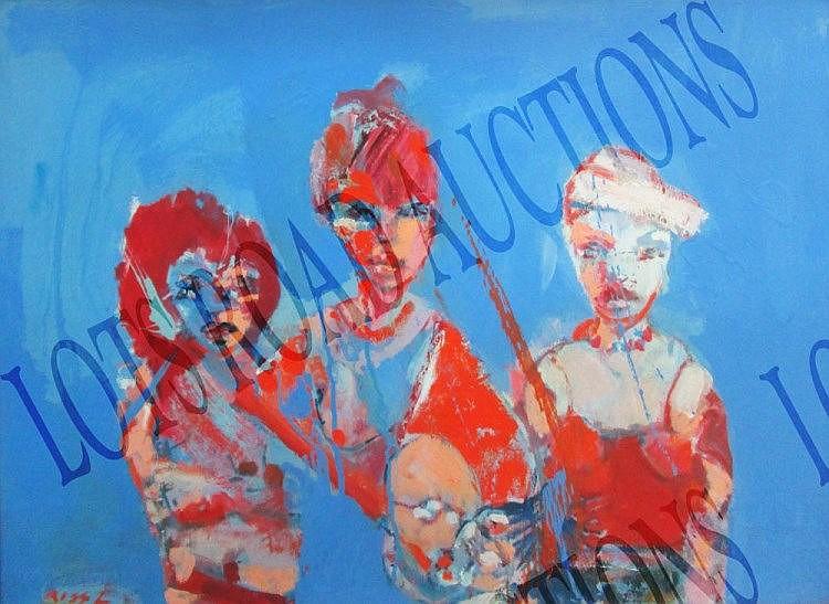 REG GADNEY, 'Three women', oil on board, 53cm x