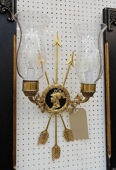WALL LIGHTS, a pair, gilt metal with scrolling