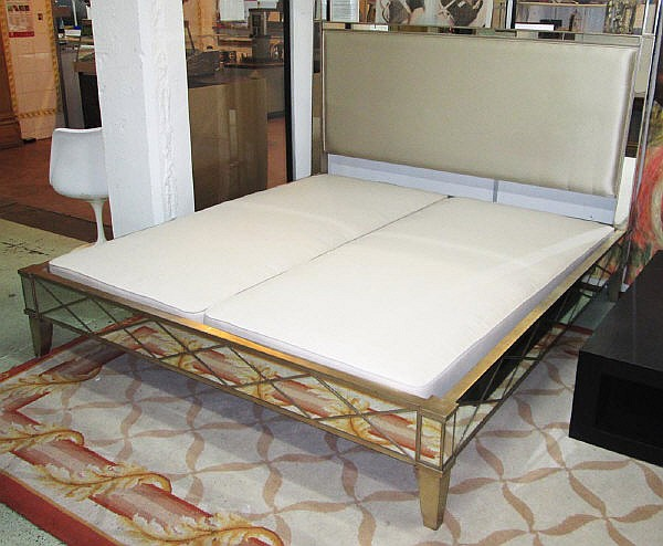 mirrored double bed frame 6ft from nina campbell with neutral fabric headboard cost - Mirrored Bed Frame