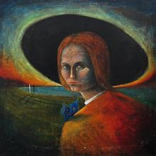 ELLING REITAN (Norway, b. 1949), 'Landscape with Portrait, Madonna with Butterfly', signed verso, oi