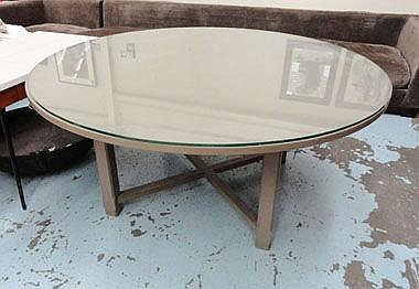 CHALON DINING TABLE, circular grey painted with