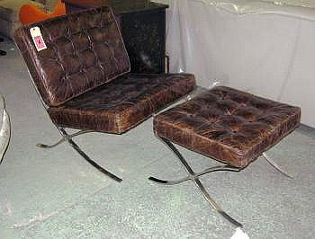 BARCELONA CHAIRS, Having Distressed Brown Leather
