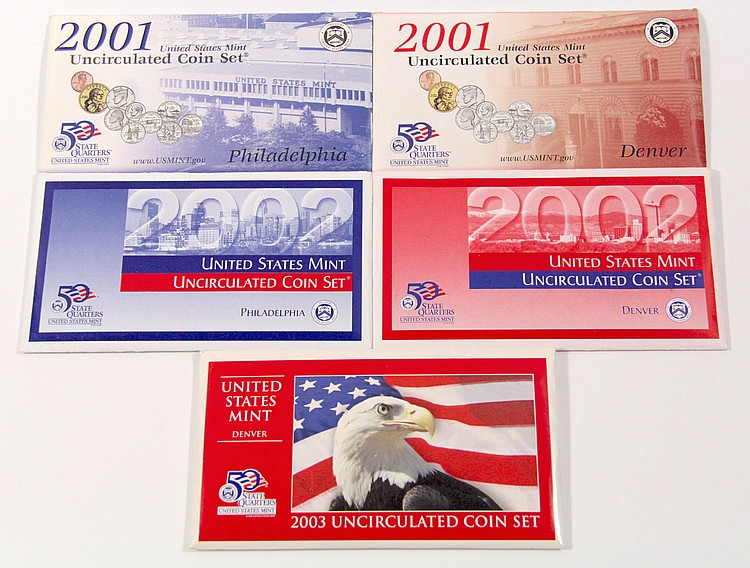 (5) U.S. Mint Uncirculated Coin Set, 2001-03