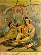 Chromo, N. Plains Indians in teepee, E.W. Deming