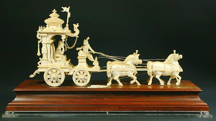 Chariots Of Palm Beach >> Ex. rare Ivory Kuruksherta Chariot, India, C.1800