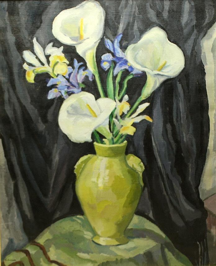 O/C Ethel Paddock, Yellow Jar and Calla Lillies