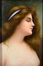 Porcelain 'Portrait of Woman' by Franz Wagner