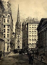 Etching - Wall Street, by Charles F. W. Mielatz