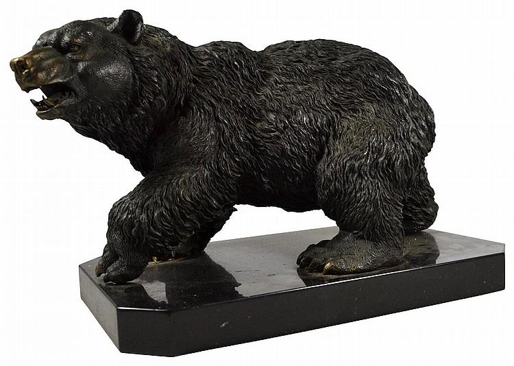 Bear, Bronze Kodiak, sculpture, marble base