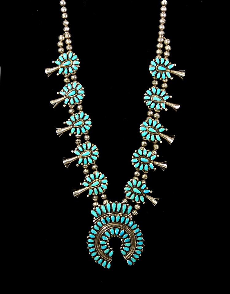 Necklace, Squash Blossom, Navajo, Turquoise