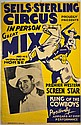 Circus Poster, Tom Mix, Seils Sterling, 1930's