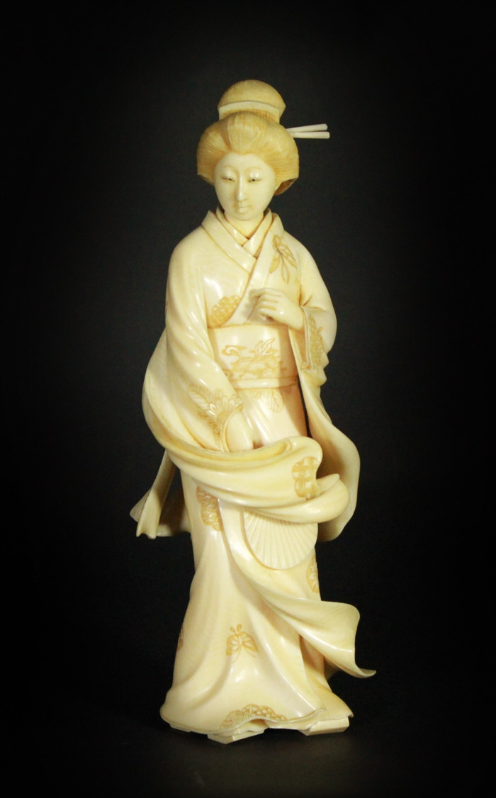 Japanese Woman Figurine, Carved Ivory