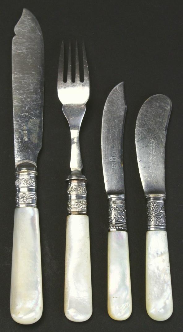 22 mother of pearl handled silver flatware - Pearl handled flatware ...