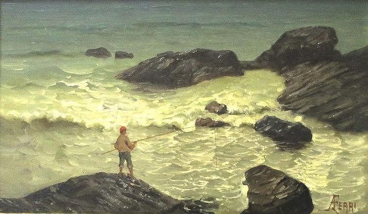 AUGUSTO FERRI - Pescatore sugli scogli