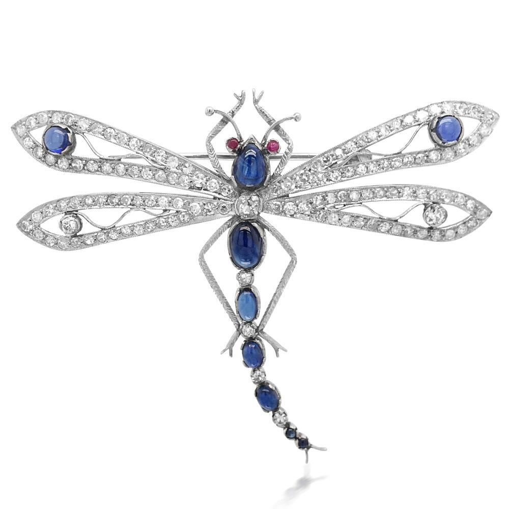 Lot 86: 18K Gold Sapphire Diamond Dragonfly Brooch