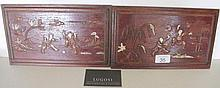 Chinese pair of boxwood panels figures 26.5cm x