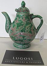 Fine 19thC Chinese underglaze green teapot marks