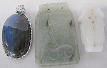 Crystal pendant, jade plaque and white jade (3)