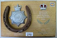 Plaque Queen Elizabeth11 Trooping the Colour 1980 with horseshoe from Burme