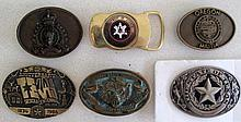 Six various belt buckles includes Alaska State Troopers,Royal Canadian moun