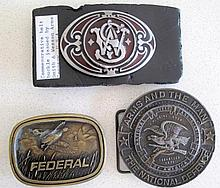 Smith & Wesson Arms Co belt buckle with Federal Bullets Usa and National Ri