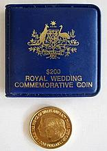 Australian 1981 $200 gold coin to commemorate the Royal Wedding weighs 10gr
