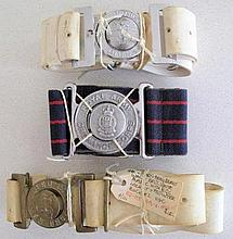 Four vintage military belts Pacific Islands Regt includes Royal Army Ordnan