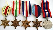 Five British WW11 medals unnamed full size 1939-45 Star, War Medal, The Ita