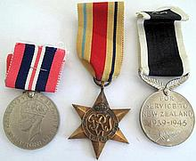World War11 three unnamed medals The Africa Star, War Medal and NZ Service