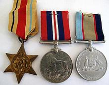 Three World War11 medals unnamed The Africa Star, Australia Service Medal a