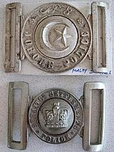 Early Straits Settlement police buckle with Johore Police Malay Straits pol